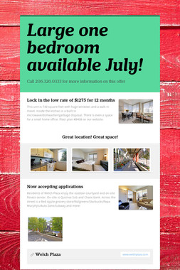 Large one bedroom available July!