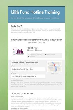 Lilith Fund Hotline Training