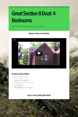 Great Section 8 Deal: 4 Bedrooms