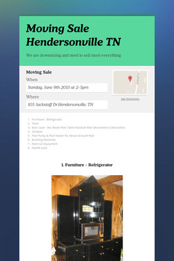 Moving Sale Hendersonville TN
