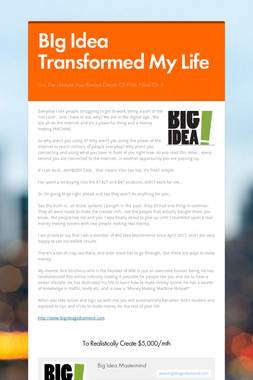 BIg Idea Transformed My Life