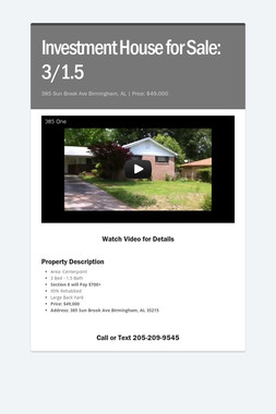 Investment House for Sale: 3/1.5