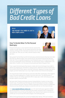 Different Types of Bad Credit Loans