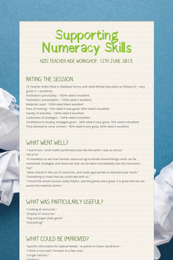 Supporting Numeracy Skills
