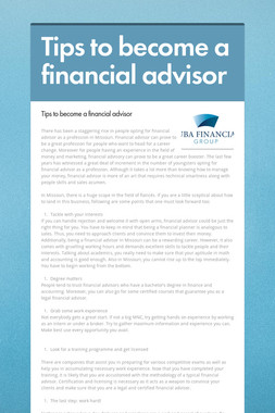 Tips to become a financial advisor