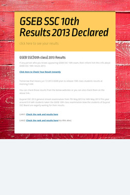 GSEB SSC 10th Results 2013 Declared
