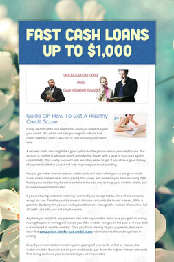 Fast Cash Loans Up To $1,000