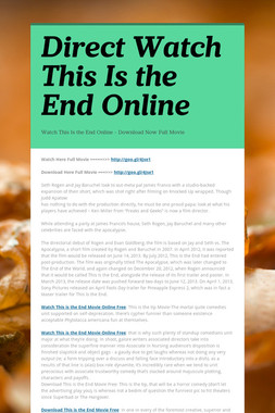 Direct Watch This Is the End Online
