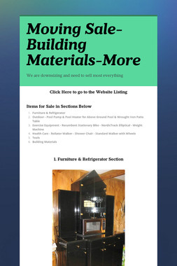 Moving Sale-Building Materials-More