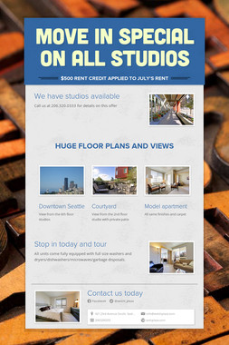 Move in Special on all studios