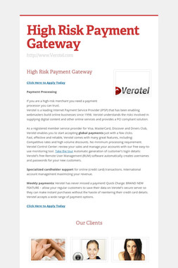 High Risk Payment Gateway