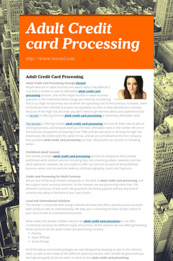 Adult Credit card Processing