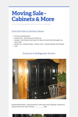 Moving Sale - Cabinets & More