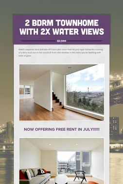 2 Bdrm Townhome with 2x Water Views