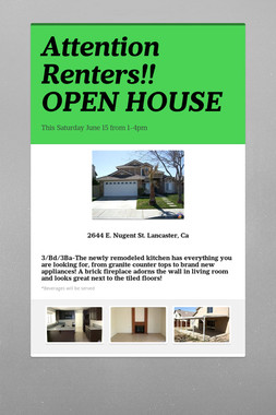 Attention Renters!! OPEN HOUSE