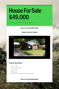 House For Sale $49,000