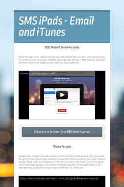 SMS iPads - Email and iTunes