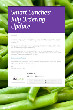 Smart Lunches: July Ordering Update