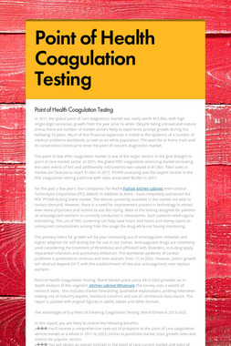 Point of Health Coagulation Testing