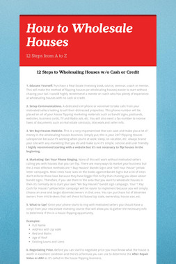 How to Wholesale Houses