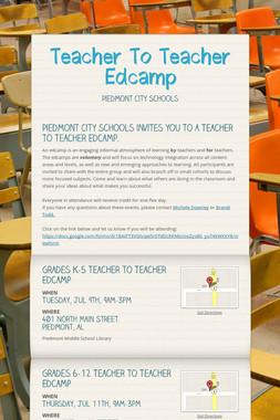 Teacher To Teacher Edcamp