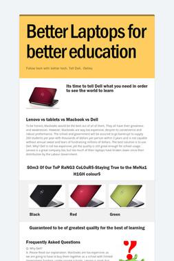 Better Laptops for better education