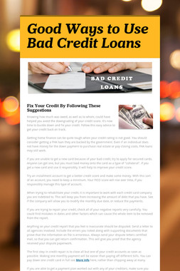 Good Ways to Use Bad Credit Loans