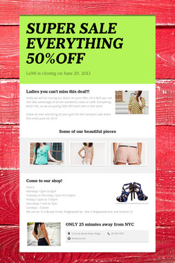 SUPER SALE EVERYTHING 50%OFF