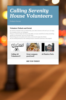 Calling Serenity House Volunteers