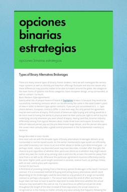 opciones binarias estrategias