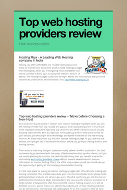 Top web hosting providers review