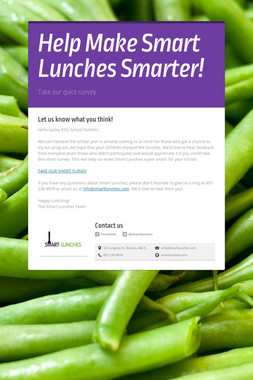 Help Make Smart Lunches Smarter!
