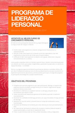 PROGRAMA DE LIDERAZGO PERSONAL