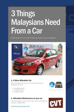 3 Things Malaysians Need From a Car