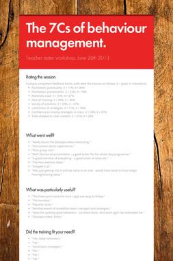 The 7Cs of behaviour management.
