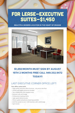 FOR LEASE-EXECUTIVE SUITES-$1,450
