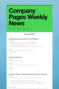 Company Pages Weekly News
