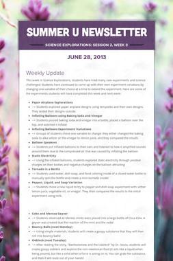 Summer U Newsletter