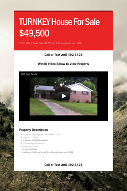TURNKEY House For Sale $49,500