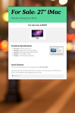 "For Sale: 27"" iMac"