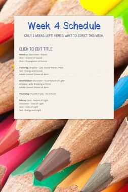 Week 4 Schedule