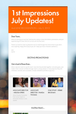 1st Impressions July Updates!