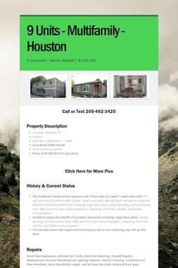 9 Units - Multifamily - Houston