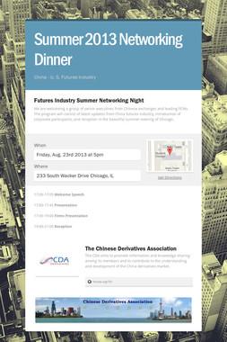 Summer 2013 Networking Dinner