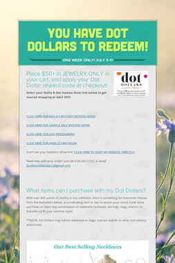 You have dot dollars to redeem!