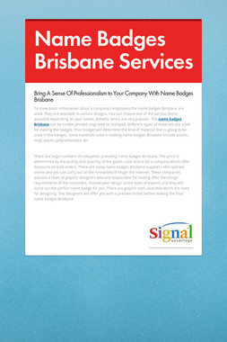 Name Badges Brisbane Services