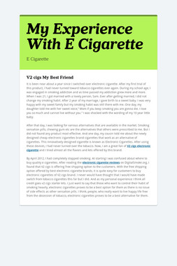 My Experience With E Cigarette