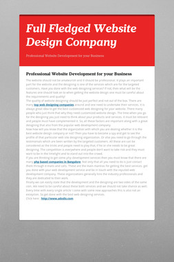 Full Fledged Website Design Company