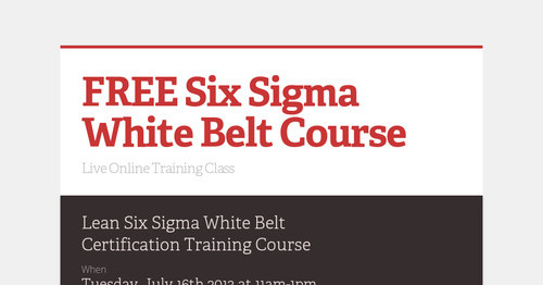 FREE Six Sigma White Belt Course | Smore Newsletters