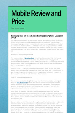Mobile Review and Price